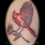 Color ink tattoo of a red flying cardinal holding a rose with its feet by Natan Alexander
