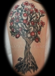 Color ink tattoo of a flowering crabapple tree with small mushroom by Natan Alexander