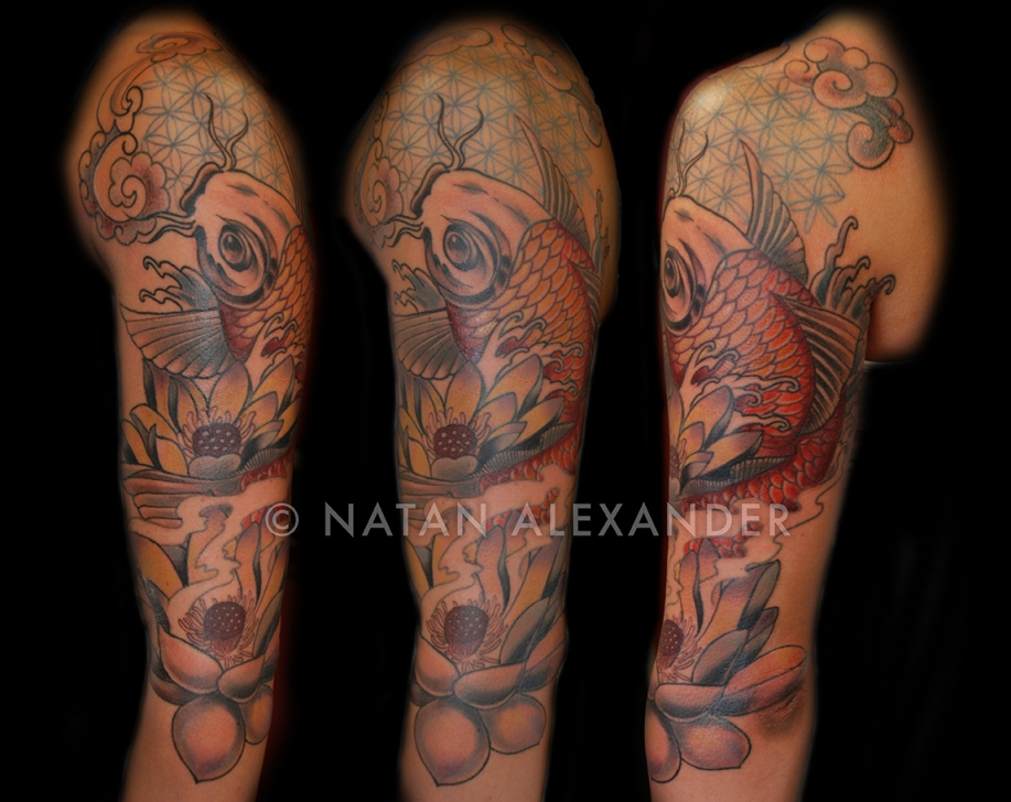 Right arm tattoo in color ink of traditional Japanese koi and lotus with flower of life pattern by Natan Alexander