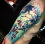 Arm sleeve tattoo of an underwater anime scene with a girl and dragon in color and black ink by Natan Alexander