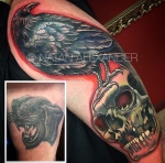 Before and after of cover up arm tattoo of raven perched on skull surrounded in red by Natan Alexander