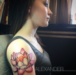 Upper arm tattoo of a colorful pink lotus with shaded petals in color ink by Natan Alexander